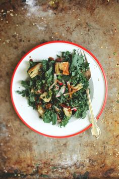 Kale & Sesame salad with scallion pancake croutons