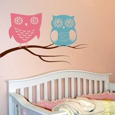 Cute Owls Sitting on the Tree Branch - Wall Decals Stickers
