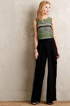 I love this outfit! These are proportions I want to try out.     Adelaide Draped Wide-Legs #anthropologie