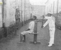 The Garrote -- The victim was locked into a seat with his back against a flat surface or a metal rod. His neck was strapped with leather, string or a metal band, attached to a wheel or crank in the back. The wheel would turn so his neck was crushed agonizingly slowly, eventually suffocating him to death.