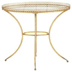Glass-top accent table in golden with a raised linked edge.  Product: Accent tableConstruction Material: Glass a...