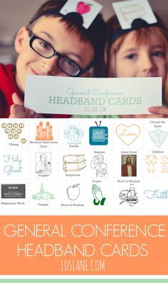 LDS Lane: General Conference Headband Cards or family home evening game Fhe Lessons, Primary Lessons, Lds Primary, Primary Music, Church Games, Church Activities, Activity Day Girls, Activity Days, Lds Church