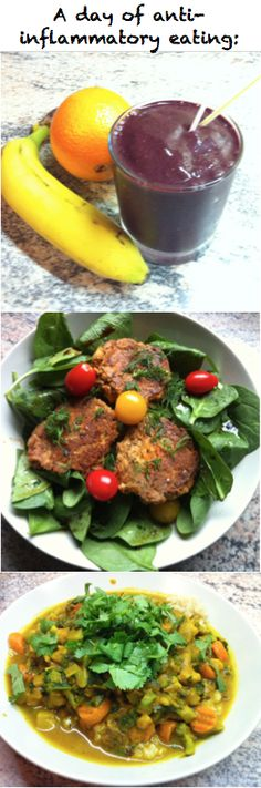 A day of anti-inflammatory eating: http://femfusionfitness.com/anti-inflammatory-diet/