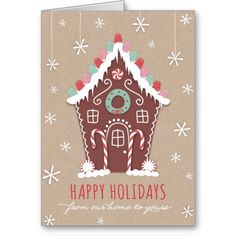 Gingerbread Happy Holiday Greetings | Season's Greetings Script Holiday Photo Card
