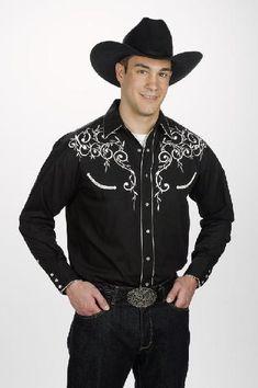 Men Retro Shirt Leaf Embroidery Old West Roper Western Cowboy Rodeo Shirt Black Rodeo Shirts, Cowboys Shirt, Western Shirts, Shirt Embroidery, Vintage Embroidery, Embroidery Ideas, Embroidery Stitches, Stylish Shirts, Casual Shirts