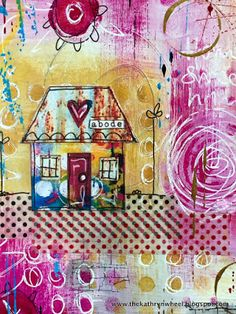 *House download available in my Etsy here* At the weekend I crossed over the Pennines (gasp!) and went to teach at the very wonderful Craftrange in Burnley, Lancs, for a day of art journaling and mixe