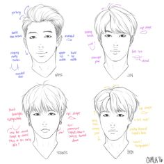 Pointers on how to draw Rap Monster, Jin, Suga and J-Hope