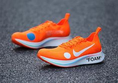 """With World Cup season just two weeks away, Virgil Abloh and Nike are shifting their attention toward the soccer world with two colorways of the collaborativeZoom Fly Mercurial Flyknit. Equipped with Abloh's signature OFF WHITE styling, the orange pair that you see below comes with the familiar medial brand text as well as """"FOAM"""" boldly … White Nikes, Nike Zoom, Justin Bieber 2018, White Style, Fresh Shoes, S Signature, Virgil Abloh, Off White, Soccer"""