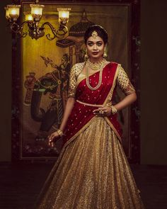The Royal Bride 💛 Featuring The Beautiful Elegant Designer N Styled by The Perfection Touch by Lehenga Saree Design, Half Saree Lehenga, Lehnga Dress, Lehenga Designs, Sari, Lehenga Gown, Jamdani Saree, Indian Lehenga, Silk Sarees