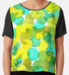Watercolor Circles - Yellow Watercolor Circles, Watercolor Texture, Watercolor Pattern, Abstract Watercolor, Yellow Art, Green Art, Mermaid Art, Conceptual Art, Surface Pattern