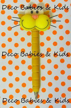 Deco Babies & Kids: Lapicera decorada Gaturro Clay Pen, Pasta Flexible, Clay Tutorials, Polymer Clay, Baby Kids, Miniatures, Sculpture, Projects, Handmade