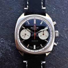 About this watch:  Fantastic Vintage Silgar Extra Reverse Panda Dial Mens Chronograph Watch, made in 1960s, also know as a Poormans Heuer Carrera 7753 NS  The watch uses a high quality manual mechanical winding Swiss Made Landeron 248 movement (also used in top quality Swiss Save The Pandas, Carrera, 30, Chronograph, 1960s, Manual, Watches, Trending Outfits, Unique Jewelry