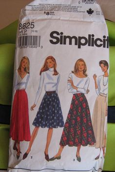 VINTAGE SIMPLICITY Pattern  8625 (1986) - Set of  flared, gored, circle and bias skirts in 2 lengths, Sizes 12-16 - CUT (size 16) - pinned by pin4etsy.com