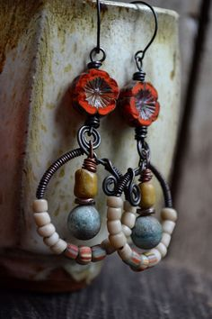 Bohemian orange coral pansy hoop earrings / by JeSoulStudio, $45.00