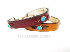 Leather Bracelet with Turquoise Decoration by TheLeatherSmithy