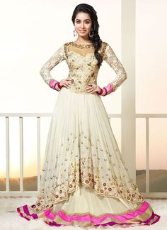 Cream  Shraddha Kapoor floor length anarkali suit