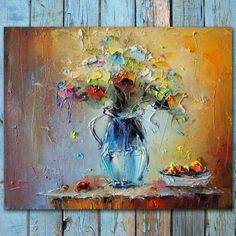 PALETTE KNIFE Flowers Painting Colorfull Textured floral painting Oil painting wall flower bloom Home decor Kitchen art by Stanislav Lazarov - http://home-painting.info/palette-knife-flowers-painting-colorfull-textured-floral-painting-oil-painting-wall-flower-bloom-home-decor-kitchen-art-by-stanislav-lazarov/