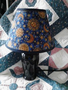 Love this lamp! Celestial Clip on Lamp Shade Bedroom Lamp Sun Moon Stars Navy Blue Gold | eBay