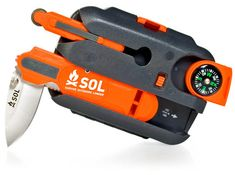 SOL Origin Survival Tool - The kit includes a little of everything like: survival instructions, an LED light, a whistle, fire-starters, fishing hooks and line, aluminum foil, compass, and much more. $81{holy cheese-its}