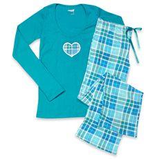 d03ede0ac8 Capelli® Plaid Turquoise 2-Piece Ladies Pajama Set