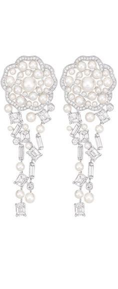 Chanel Fine Jewelry....LES PERLES DE CHANEL COLLECTION -Pluie de Camélia earrings with pearls and diamonds, Camélia