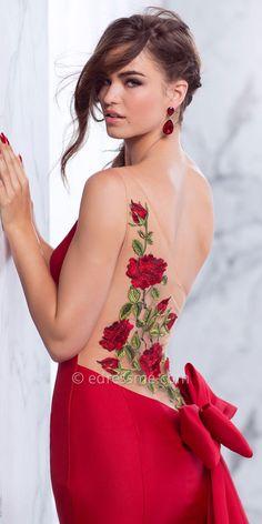 One Shoulder Rose Embroidered Bow Back Prom Dress by Tarik Ediz Prom