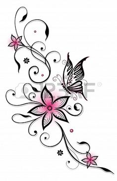 Pink and black flowers with butterfly, summer time #butterfly #tattoos