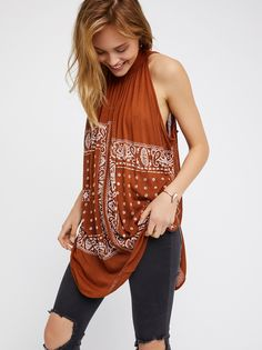 New Romantics Good Vibes Top | Easy, flowy top featuring a boho-inspired bandana print with a femme tie detail at the neckline.      * Dramatic side vents    * Ultra lightweight, semi-sheer