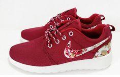 n076 - Nike Roshe Run (Floral Prints Red/White)