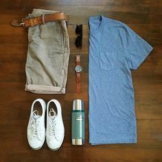 Men's Summer Outfit Grid - summer khaki shorts by Corridor NYC Mode Outfits, Short Outfits, Casual Outfits, Mode Masculine, Stylish Men, Men Casual, Style Masculin, Look Man, Mens Attire