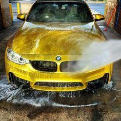 BMW F80 M3 yellow car wash