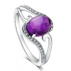 Natural Amethyst 925 Sterling Silver Ring - USD $79.95