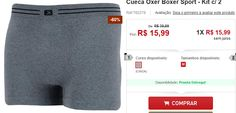 Kit com 2 Cueca Oxer Boxer Sport << R$ 1279 >>