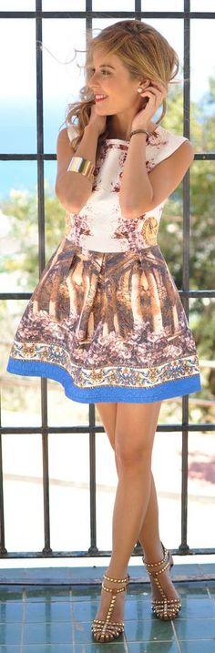 Sheinside Multi Coloured Antique Print Sleeveless Skater Dress