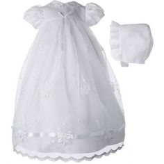 Christening Baptism Newborn Baby Girl Special Occasion Girls Long Organza Embroidered Dress w/ Ribbon Beaded Trim, Size: 6 - 9 Months, White