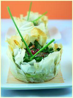 Spinach and Pecan Filo Mini-Tarts — Bricks aux épinards et noix de pécan   La Tartine Gourmande