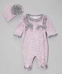 Pink Cheetah Footie & Beanie by Baby Essentials #zulily #zulilyfinds