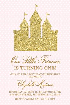 Pink and Gold Glitter Princess Castle Birthday Party by Honeyprint Princess Castle, Printable Invitations, Birthday Party Invitations, Gold Glitter, Card Stock, Place Card Holders, Carton Box, Cartonnage, Birthday Invitations