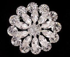 JP 201 Large crystal rhinestone flower brooch
