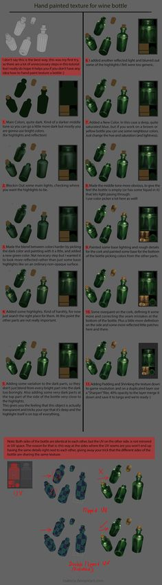 Hand Painted Texturing Tutorial, Wine Bottle by tsabszy on deviantART