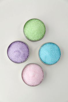 Pastel cocktail rimmers - pastel colored rimming sugars for your Easter Party, bridal shower or spring wedding champagne flutes. Add sparkle to your martinis and signature drinks! $12.95 for four tins (enough for 50+ glasses or 60+ champagne flutes). Made by Dell Cove Spice Co., Chicago, IL  http://www.dellcovespices.com