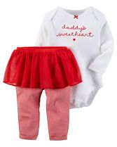 Daddy's little sweetheart is super cute for her first Valentine's Day in this sweet tutu set.<br>
