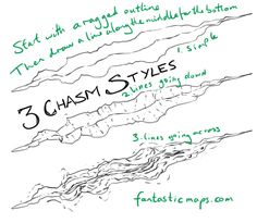 Three quick styles for drawing a chasm on a dungeon map.