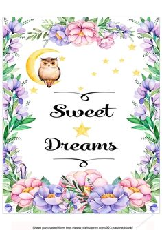 Owl Sweet Dreams by Pauline Black This is an 8x10 printable which you can frame yourself. Ideal as a gift idea for a nursery/child's…