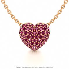 Pave Set Heart Pendant with Pink Tourmaline in 18k Rose Gold and Anchor Chain 1.75mm in 14k White Gold