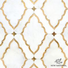 Josephine, a water jet mosaic shown inVenetian honed Afyon White and both honed and polished 24K Gold Glass, is part of the Aurora™ Collection by Sara Baldwin for New Ravenna. Floor Design, Tile Design, House Design, Tile Patterns, Textures Patterns, Ravenna Mosaics, New Ravenna, Gold Glass, Mosaic Tiles