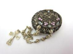 Vintage Silver Filigree Box  Rosary Pillbox 800 by VintageInBloom, $118.00