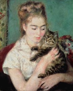 Woman With A Cat Painting  - Woman With A Cat Fine Art Print