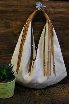 Moon bag Sac cabas en lin beige naturel avec anse by LiliMarlowe