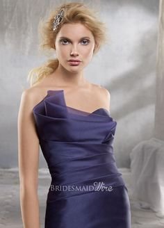 organza trumpet bridesmaid dress with draped strapless sweetheart neckline